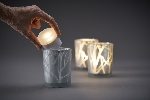 Skleněný svícen Shimmer stříbrný s námrazou 10x8cm (6ks)