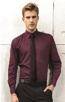 Pánská popelínová košile s dlouhým rukávem PREMIER