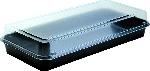 Plastová krabička Lunch Box, černá/průhledná, 27x13,5x5,4cm (160ks)