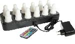 Dobíjecí led svíčky barevné (sada 12ks svíček, nabíječka, adaptér, dálkové ovládání) AKCE