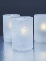 Sklenený svietnik Ice biely 12x7,5cm (8ks) - ručne vyrábané