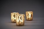 Skleněný svícen Shimmer zlatý s námrazou 10x8cm (6ks)
