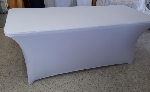 Spandexový elastický návlek na banketový stôl, biely (na stôl s rozmerom 185x75x74cm)