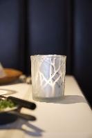 Sklenený svietnik Shimmer strieborný s námrazou 10x8cm