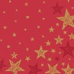 Servítky 33x33cm/3vrst. Shining Star red (20ks) AKCIA