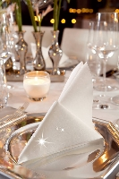 Luxusné obrúsky 40cm biele s trblietkami (12x45ks)