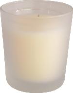 """Sklenený svietnik s náplňou Switch&Shine """"Solid Frosted cream"""" (12ks) + vanilková náplň"""