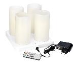 Dobíjacie LED sviečky Pillar, 220x75mm (4 sviečky, 1 adaptér, 1 diaľkový ovládač)